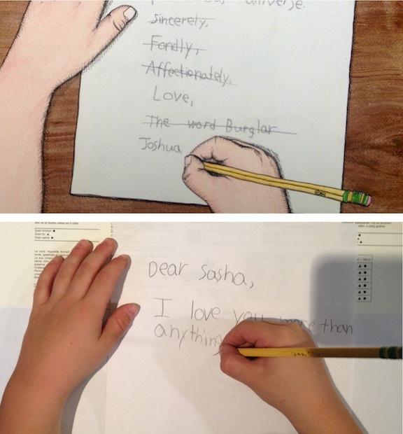 The Word Burglar learns to write.