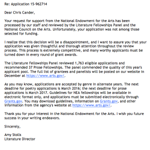 My rejection from the NEA.