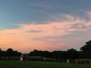 Sunset over the lawn at the Sewanee Inn.
